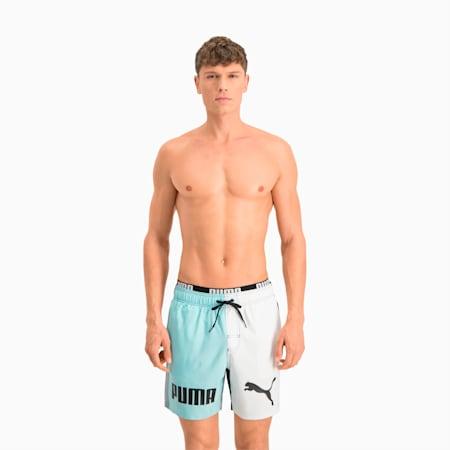 Męskie szorty kąpielowe średniej długości z blokami kolorów Swim, blue combo, small