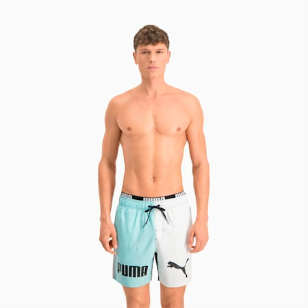 Swim Men's Colour Block Mid Shorts, blue combo, small-GBR