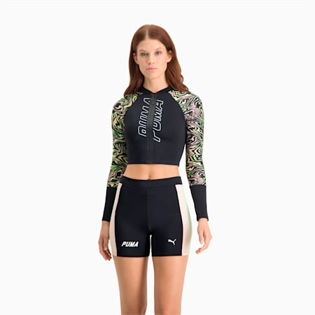 Cropped Rash Guard zwemshirt dames, black combo, small