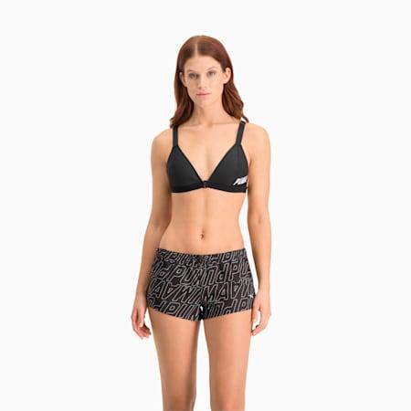 Shorts de baño estampado para mujer, black combo, small
