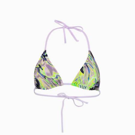 Swim Women's All-Over-Print Triangle Top, purple combo, small