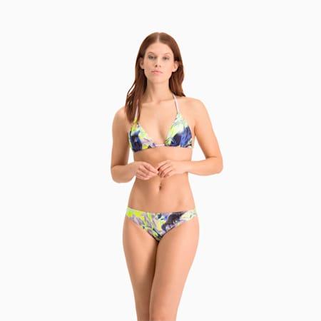 Top da nuoto a triangolo con stampa su tutta la superficie donna, purple combo, small