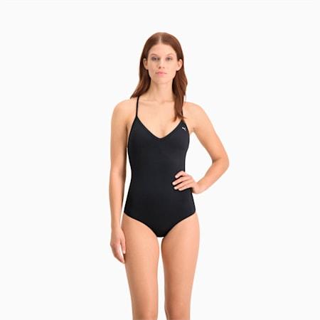 Costume da nuoto con scollo a V e incrocio sulla schiena donna, black, small