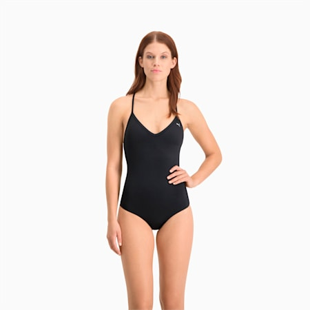 Swim Damen V-Neck Crossback Badeanzug, black, small