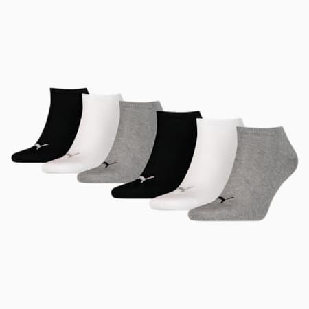 Unisex Plain Sneaker Socks 6 pack, black / grey, small