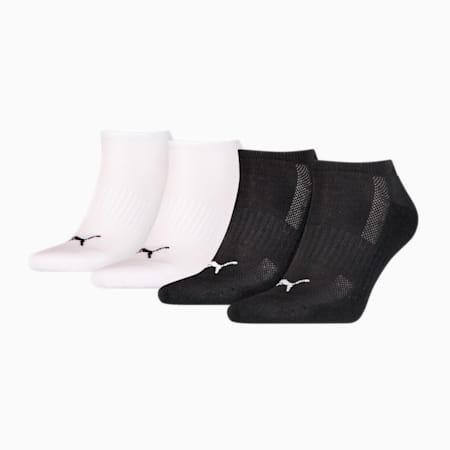 PUMA GEPOLSTERTE SNEAKER-SOCKEN 4ER PACK UNISEX ECOM, black / white, small