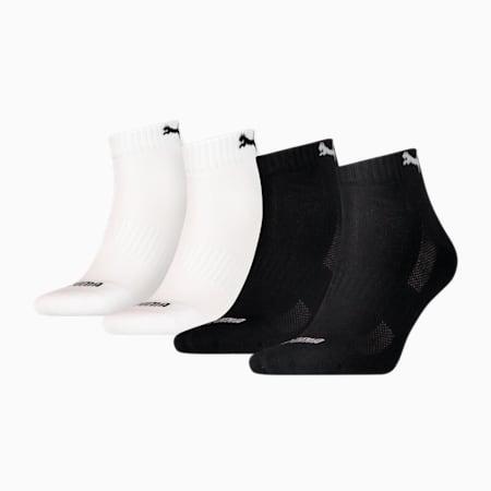 PUMA GEPOLSTERTE VIERTELLANGE SOCKEN 4ER PACK UNISEX ECOM, black / white, small