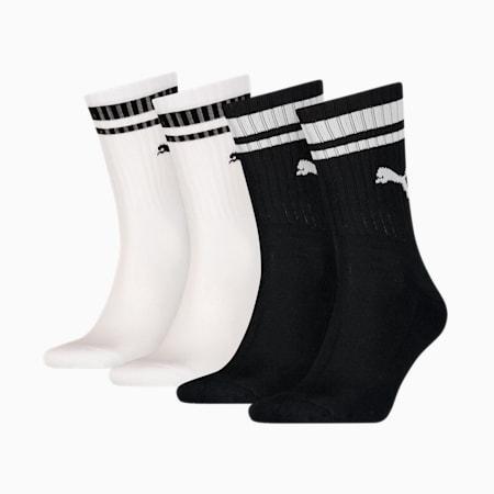 Heritage Striped Crew Socks 4 Pack, black / white, small