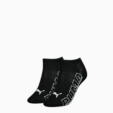 Sneakersokken met contourlogo voor dames, set van 2, black combo, small