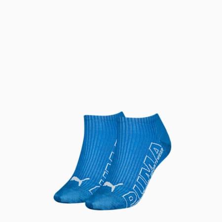 Sneakersokken met contourlogo voor dames, set van 2, blue combo, small