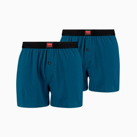 Men's Loose Jersey Boxer Shorts 2 pack, strong blue, small