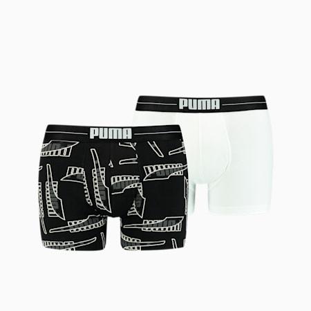 Formstrip boxer met all-over-print voor heren, set van 2, black combo, small