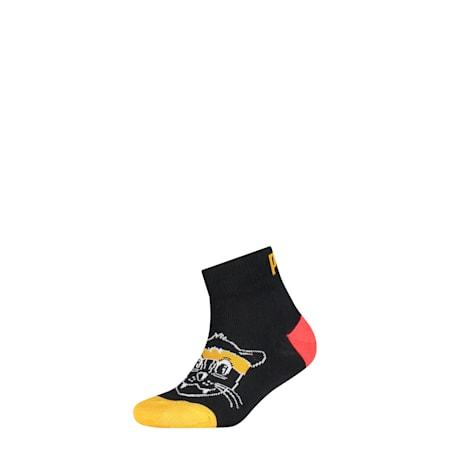 Kids' 1 Pack Quarter Socks, black, small-SEA