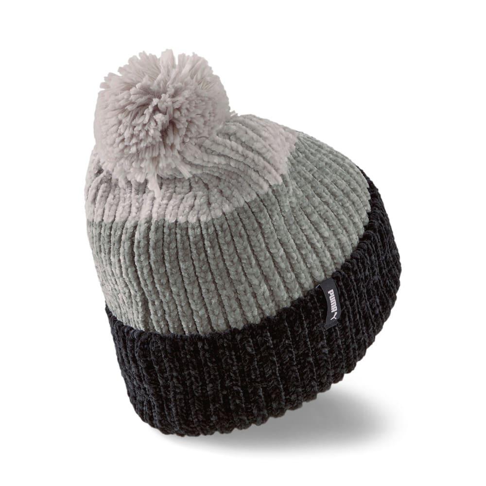Изображение Puma Шапка Pom Pom Beanie Women's Hat #2: Puma Black-Medium Gray Heather-Light Gray Heather