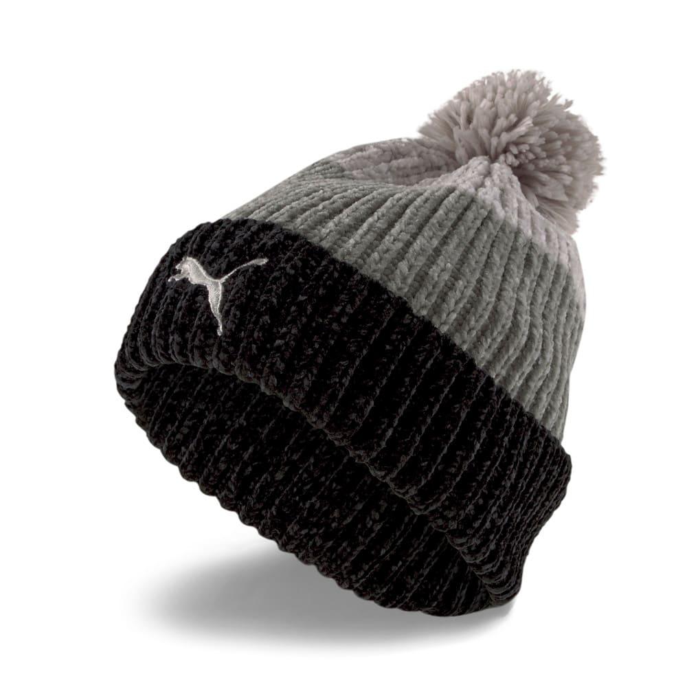 Изображение Puma Шапка Pom Pom Beanie Women's Hat #1: Puma Black-Medium Gray Heather-Light Gray Heather