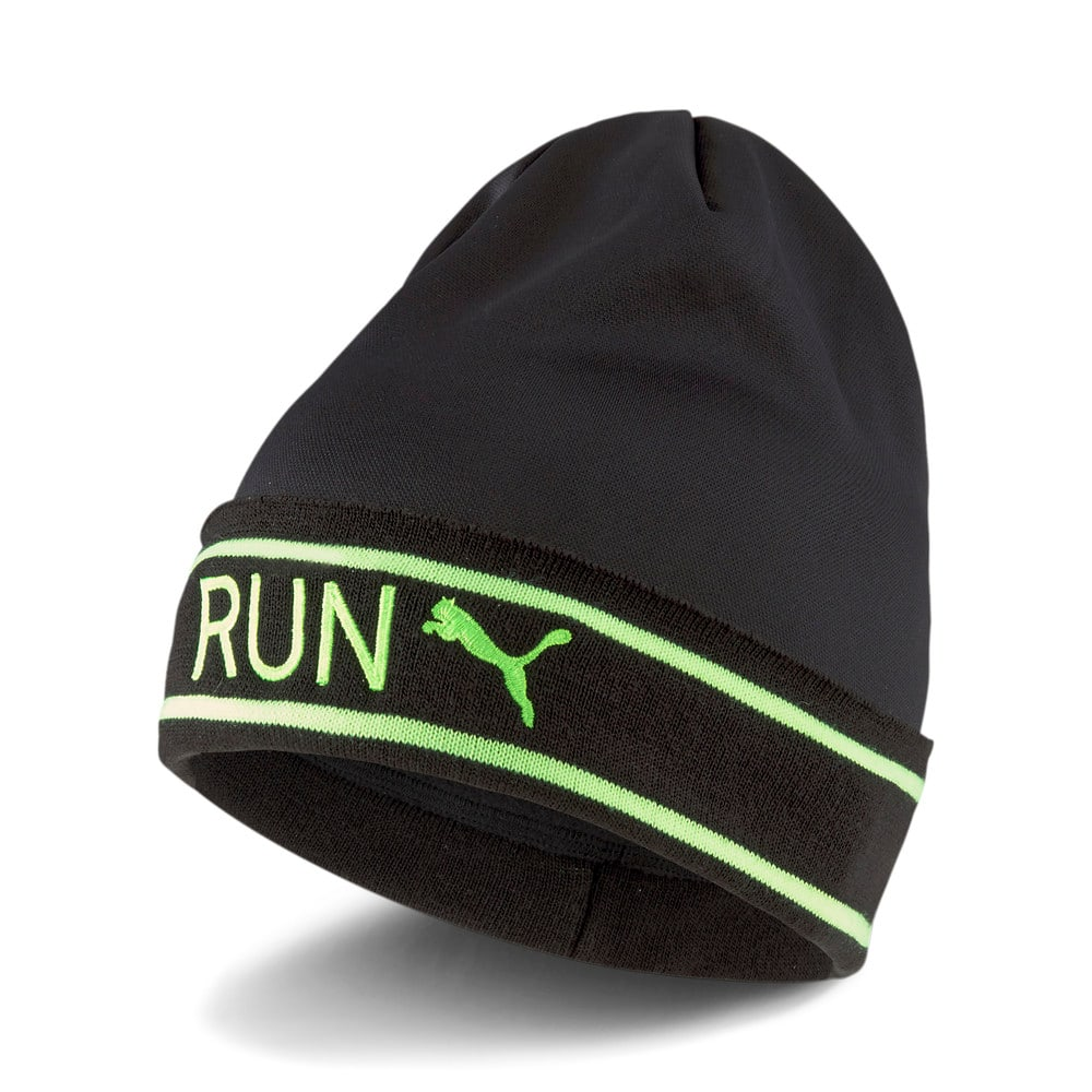 Изображение Puma Шапка Classic Running Cuff Beanie #1: Puma Black-Green Glare