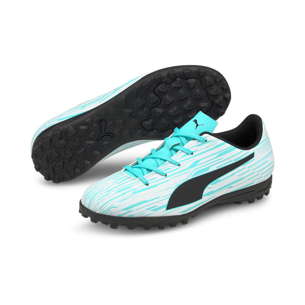 Изображение Puma Детские бутсы Rapido III TT Youth Football Boots #2: Puma White-Puma Black-Elektro Aqua
