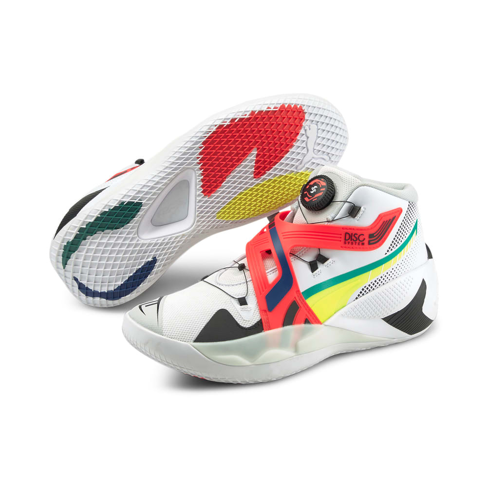 Изображение Puma Кроссовки Disc Rebirth Basketball Shoes #2: Puma White-Yellow Alert