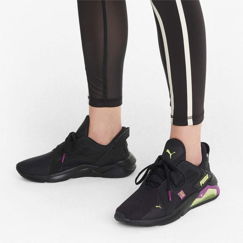 Изображение Puma Кроссовки PUMA x FIRST MILE LQDCELL Method Women's Training Shoes #2: Black-Byzantium-FLUO YELLOW