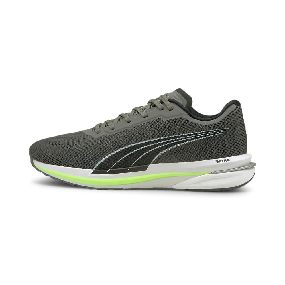 Зображення Puma Кросівки Velocity Nitro Men's Running Shoes #1: CASTLEROCK-Puma Black-Green Glare