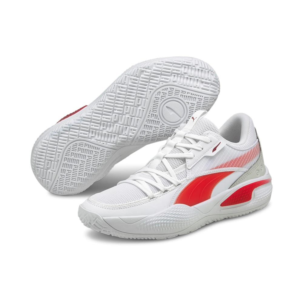 Зображення Puma Кросівки Court Rider Team Basketball Shoes #2: Puma White-High Risk Red