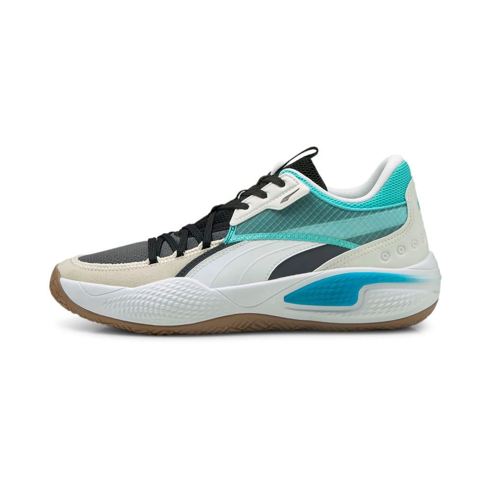 Изображение Puma Кроссовки Court Rider Summer Days Basketball Shoes #1: Ebony-Elektro Aqua