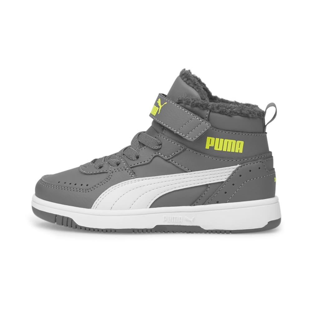 Изображение Puma Детские кеды Rebound Joy Fur Kids' Trainers #1: CASTLEROCK-Nimbus Cloud-Nrgy Yellow-Puma White