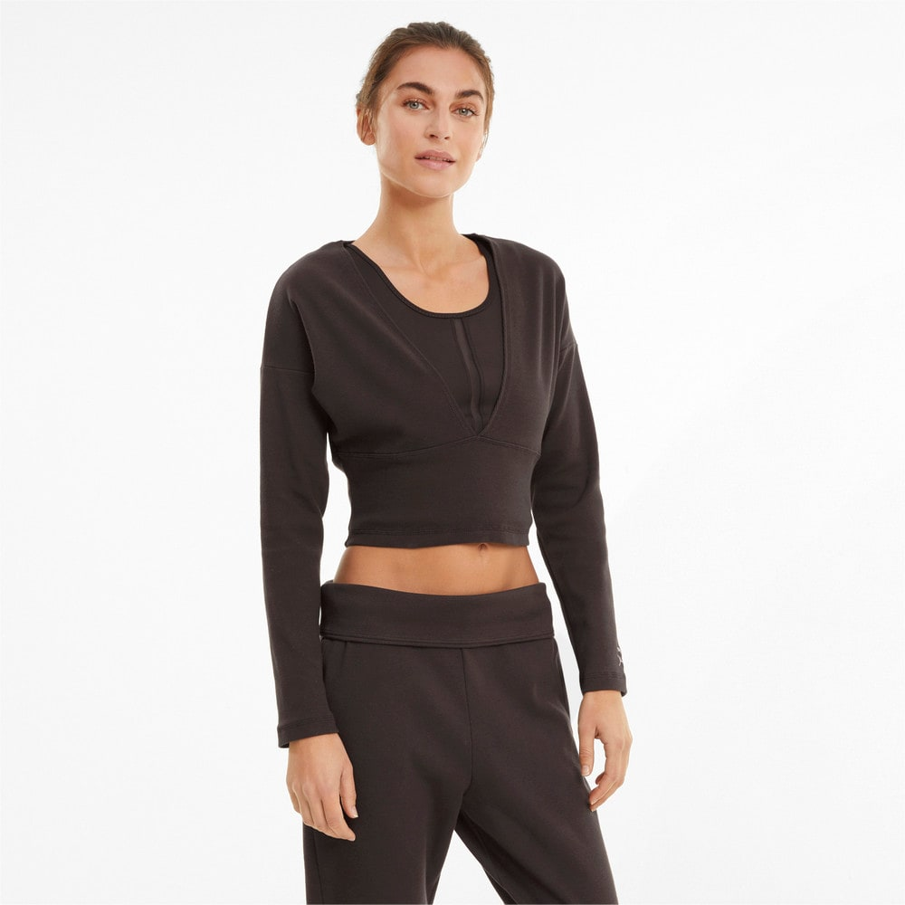Зображення Puma Топ з довгим рукавом Exhale Ribbed Knit V-Neck Long Sleeve Women's Training Top #1