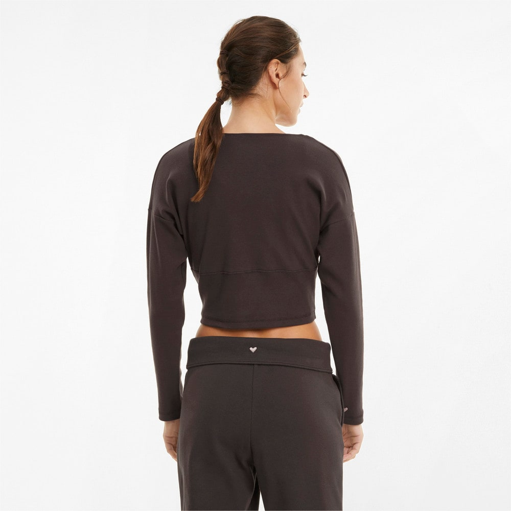 Изображение Puma Топ с длинным рукавом Exhale Ribbed Knit V-Neck Long Sleeve Women's Training Top #2