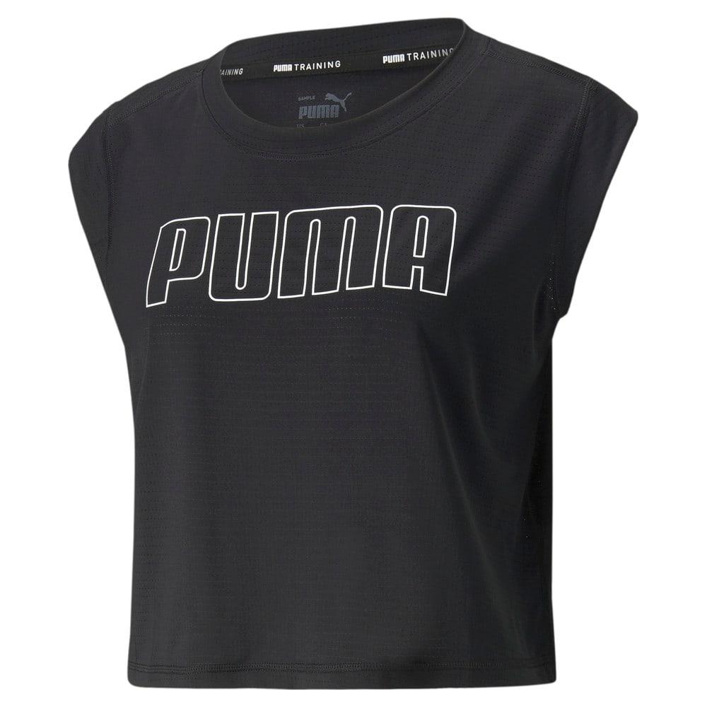 Изображение Puma Топ Logo Cap Sleeve Women's Training Tee #1