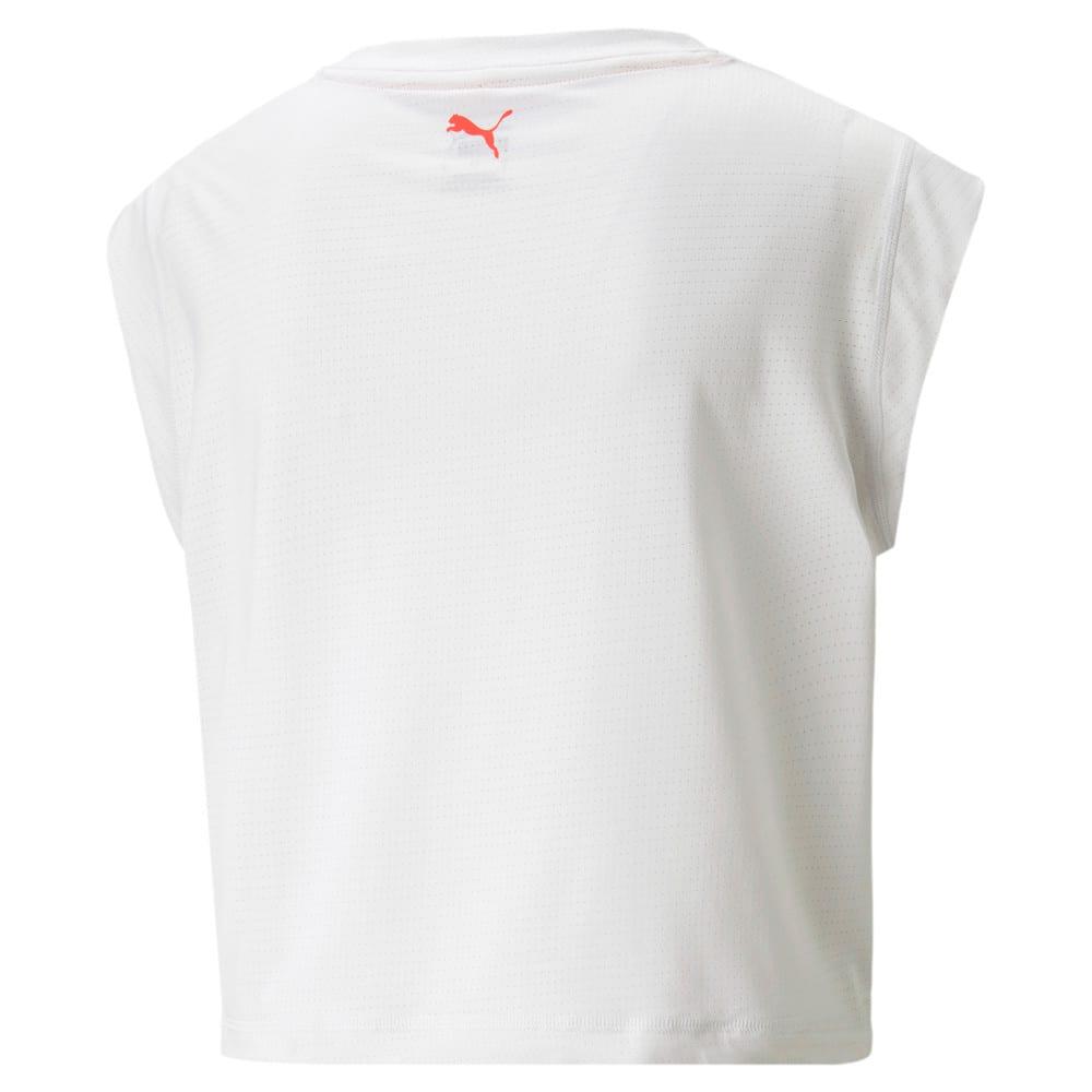 Изображение Puma Топ Logo Cap Sleeve Women's Training Tee #2: Nimbus Cloud-'PUMA' outline
