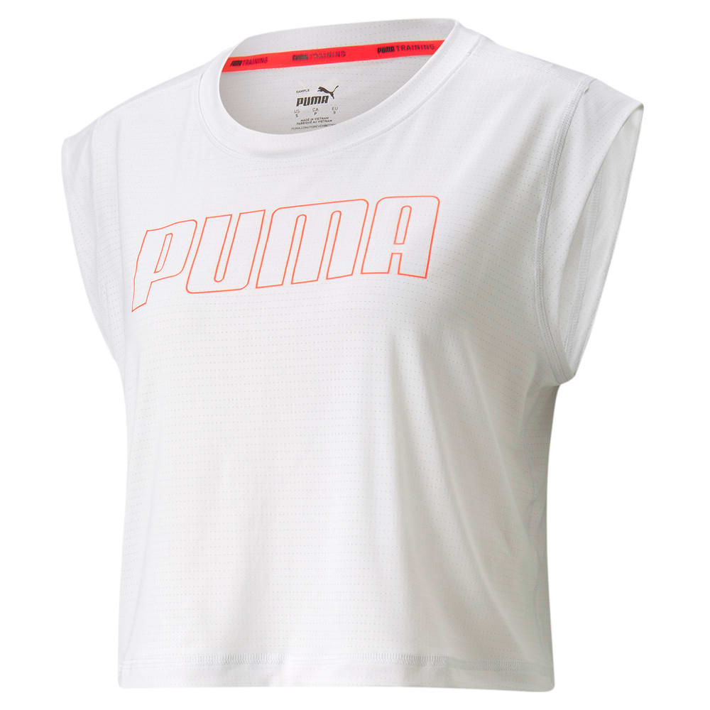 Изображение Puma Топ Logo Cap Sleeve Women's Training Tee #1: Nimbus Cloud-'PUMA' outline