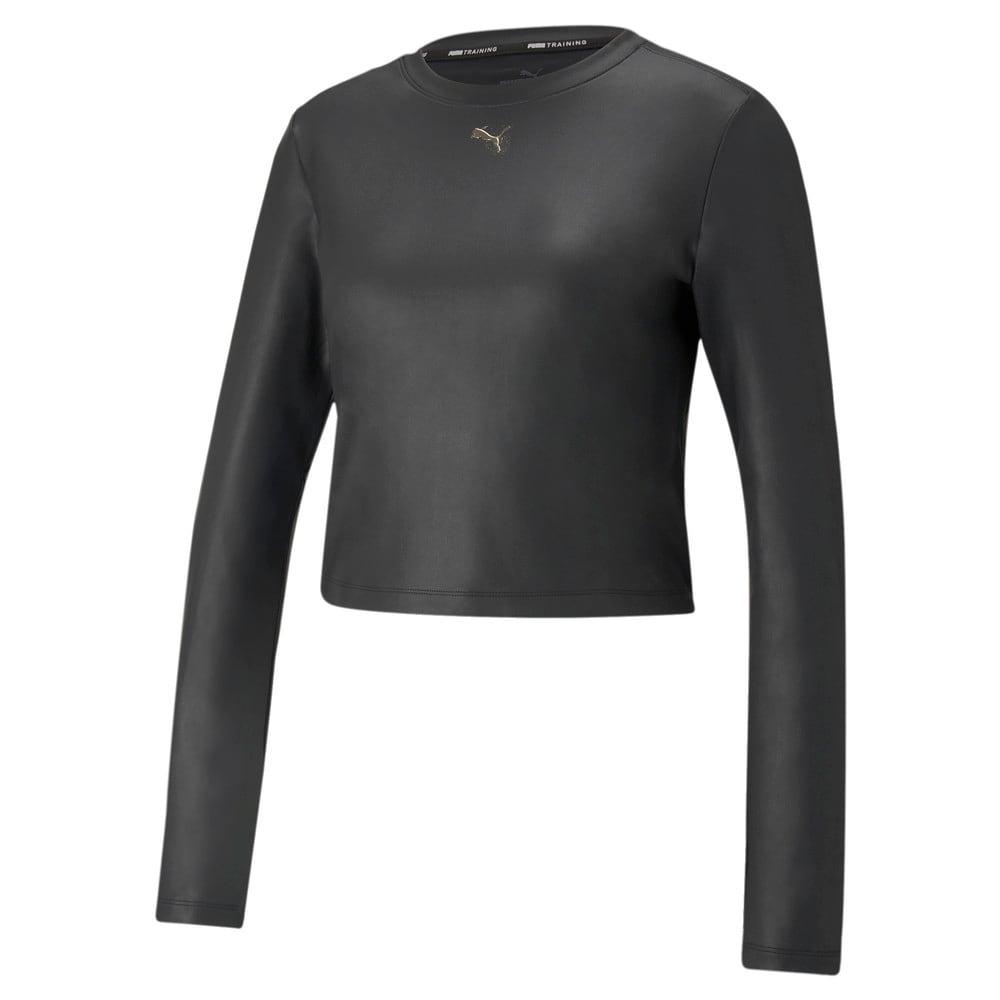 Изображение Puma Футболка с длинным рукавом Moto Fitted Long Sleeve Women's Training Tee #1: Puma Black