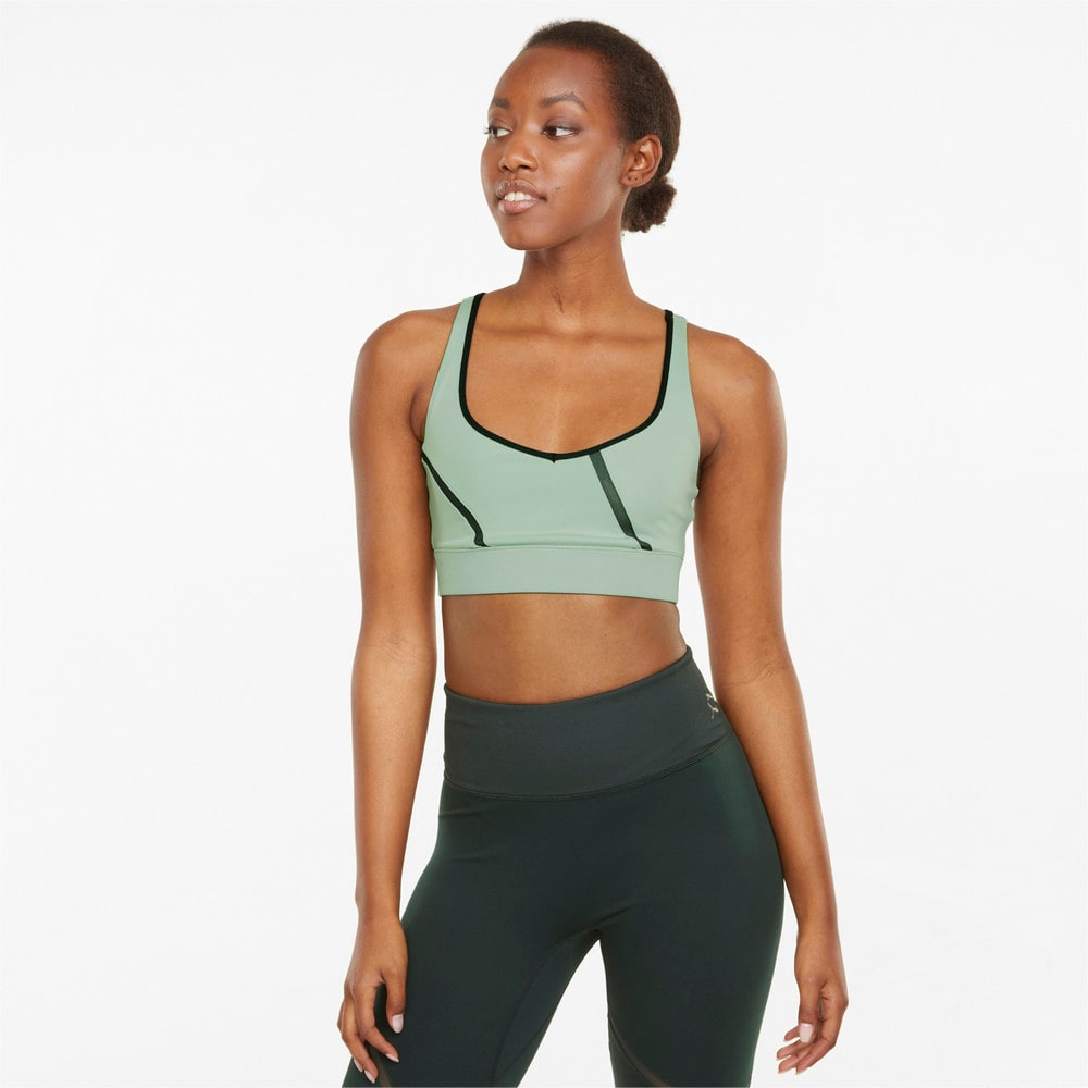 Изображение Puma Бра EXHALE Mesh Curve Women's Training Bra #1: Frosty Green
