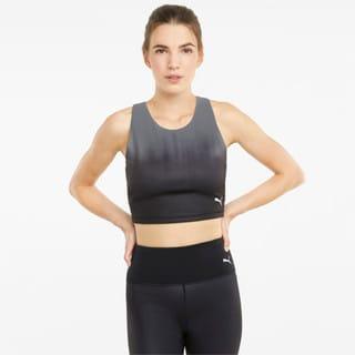 Imagen PUMA Top corto de training con espalda de estilo nadadora para mujer Studio Ombre
