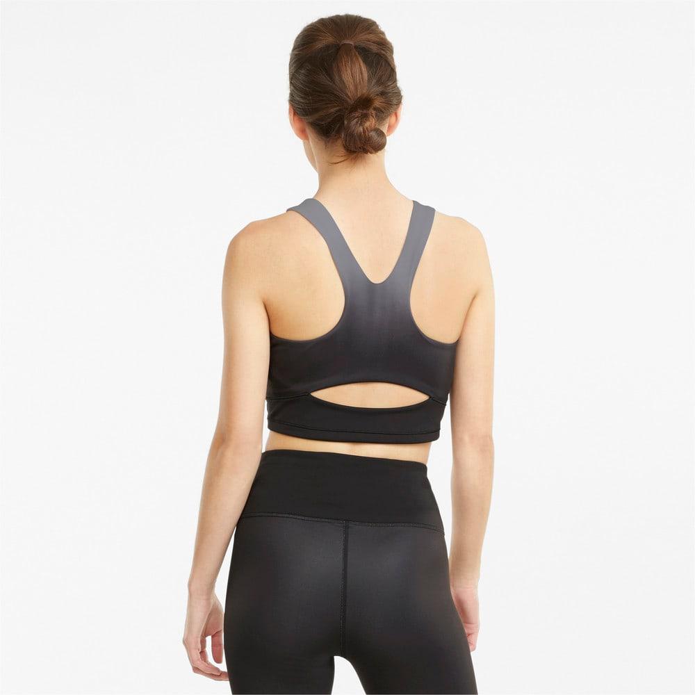 Изображение Puma Топ Studio Ombre Women's Racerback Training Crop Top #2: Puma Black-Asphalt-ombre print
