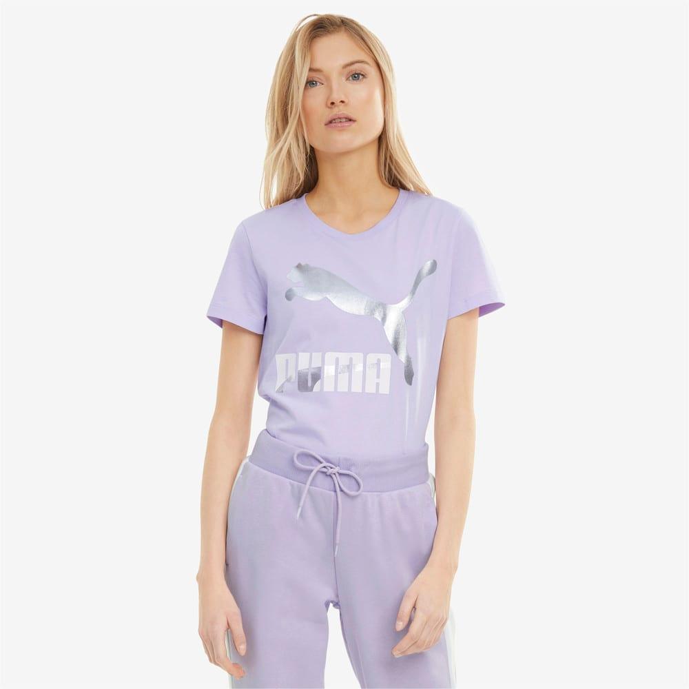 Изображение Puma Футболка Classics Logo Women's Tee #1: Light Lavender-metallic