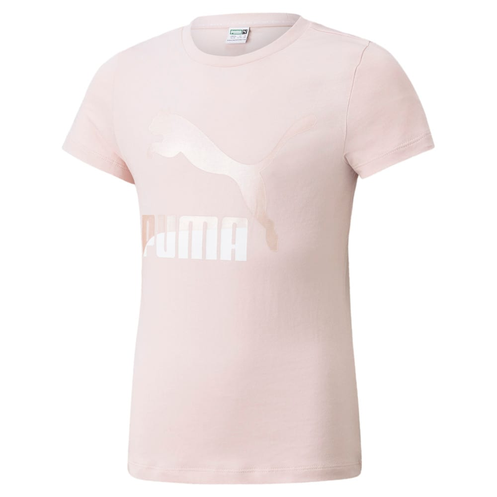 Изображение Puma Детская футболка Classics Logo Youth Tee #1: Lotus