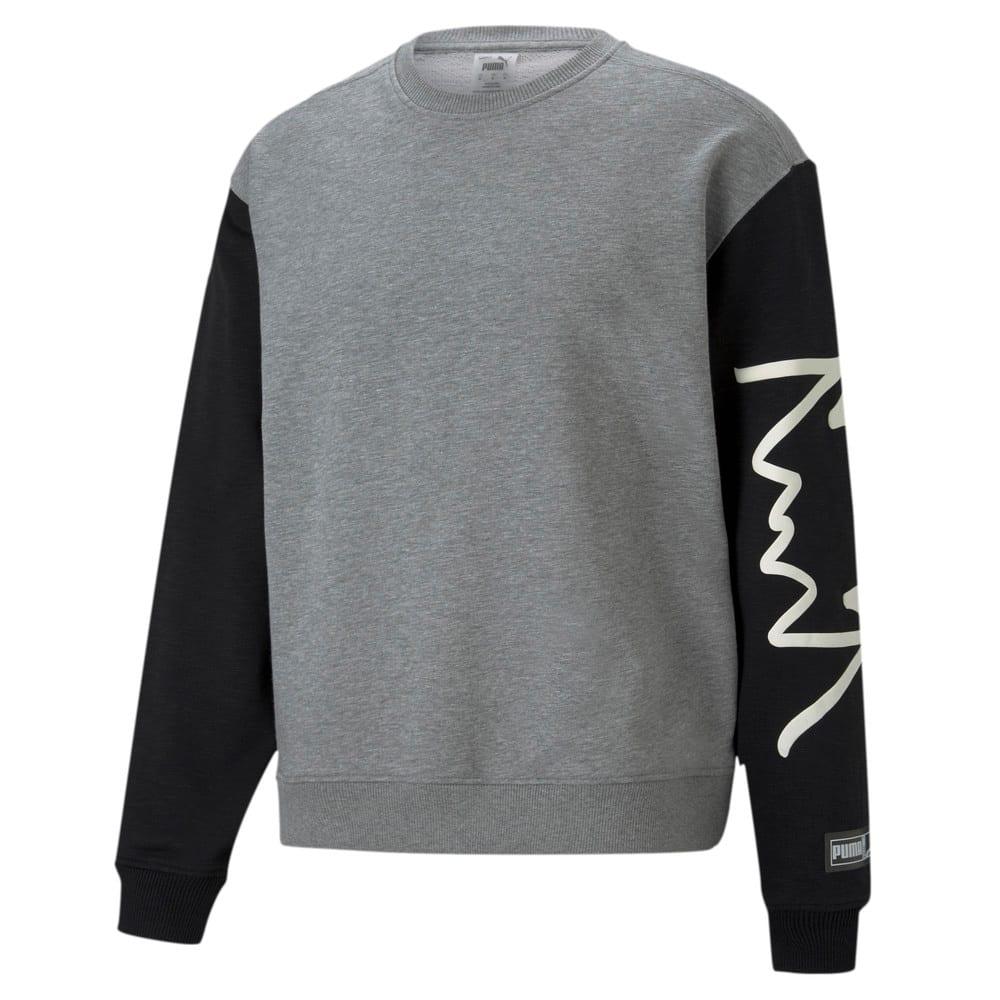 Зображення Puma Толстовка Colour Blocked Crew Neck Men's Basketball Sweatshirt #1: Medium Gray Heather
