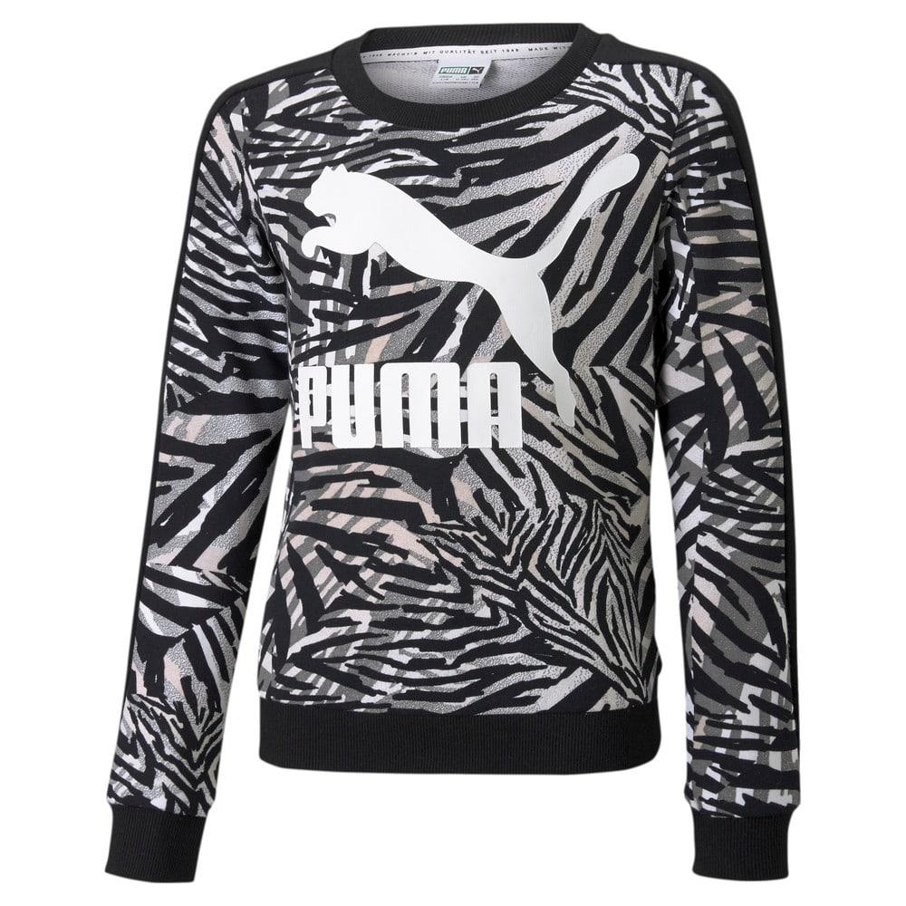 Изображение Puma Детская толстовка Classics T7 Crew Neck Printed Youth Sweatshirt #1