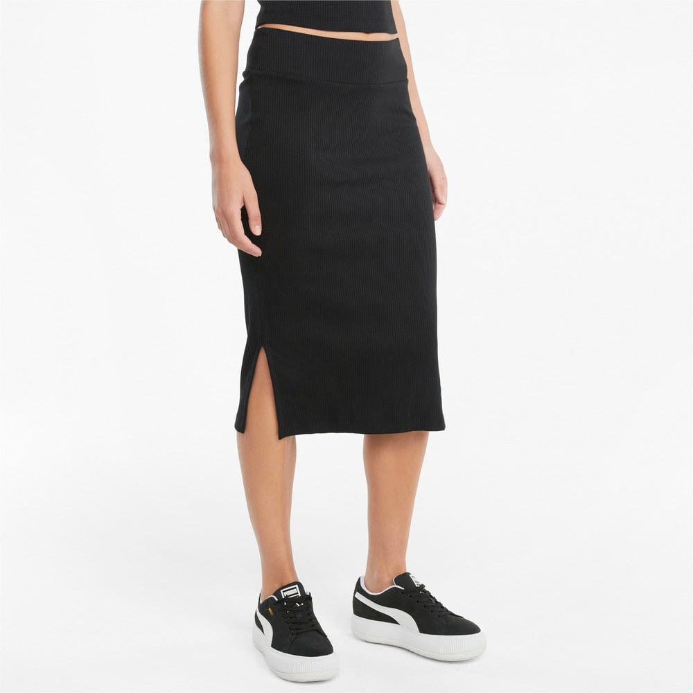 Image Puma Classics Ribbed Women's Midi Skirt #1