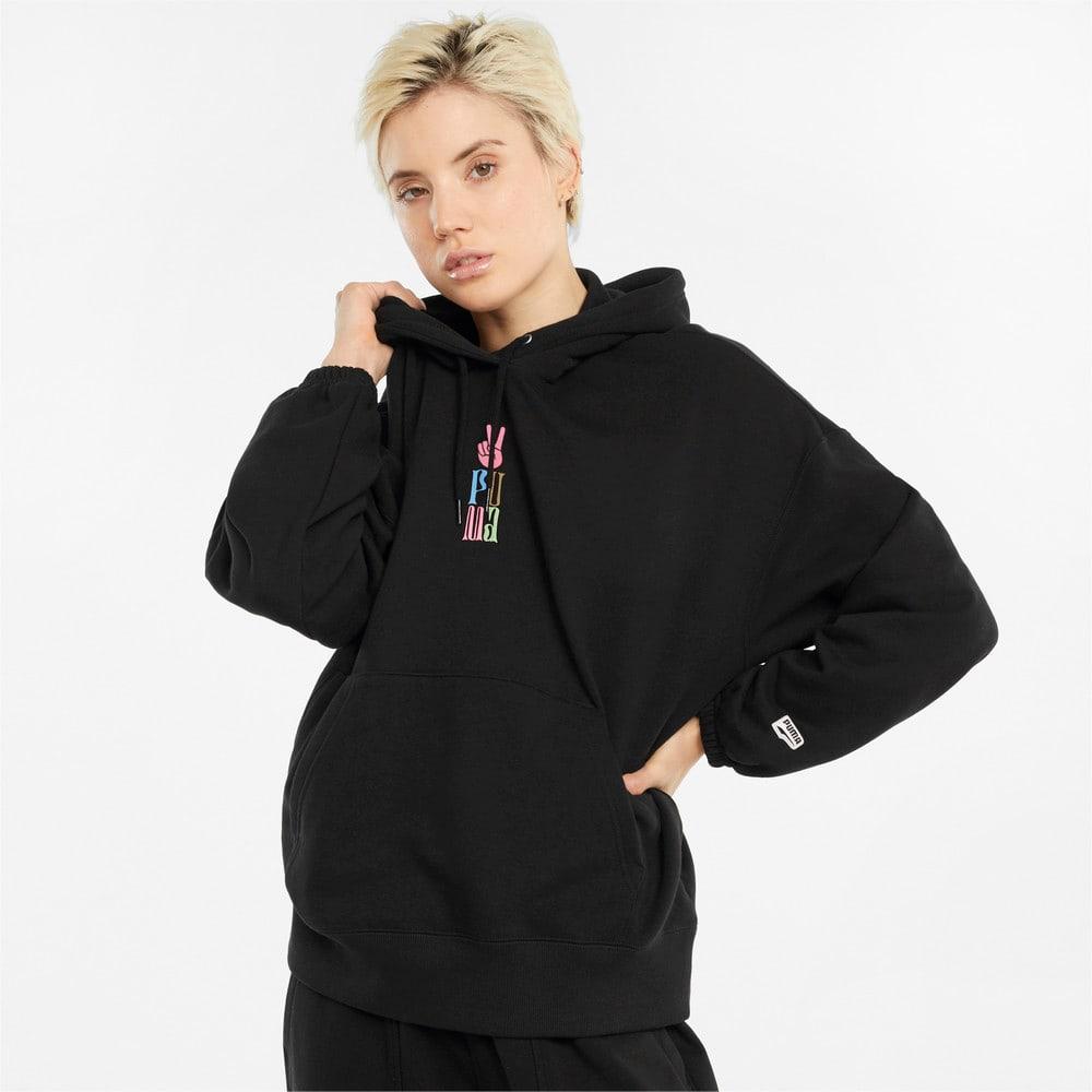 Görüntü Puma DOWNTOWN Grafikli Kadın Kapüşonlu Sweatshirt #1
