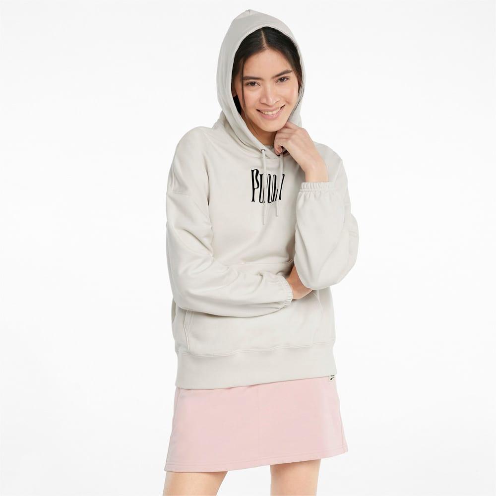 Imagen PUMA Polerón con estampado gráfico y capucha para mujer Downtown #1