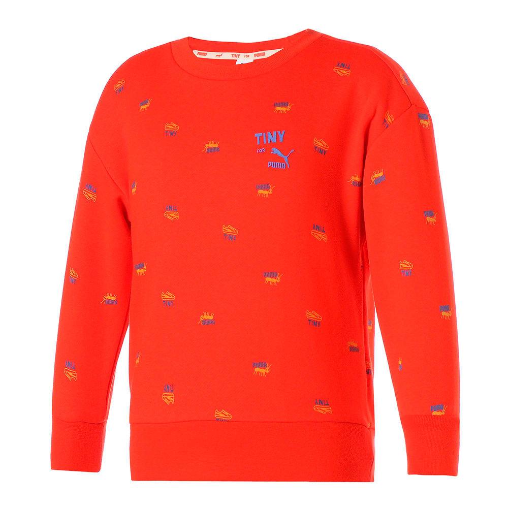 Изображение Puma Детская толстовка PUMA x TINYCOTTONS Printed Crew Neck Kids' Sweatshirt #1: grenadine