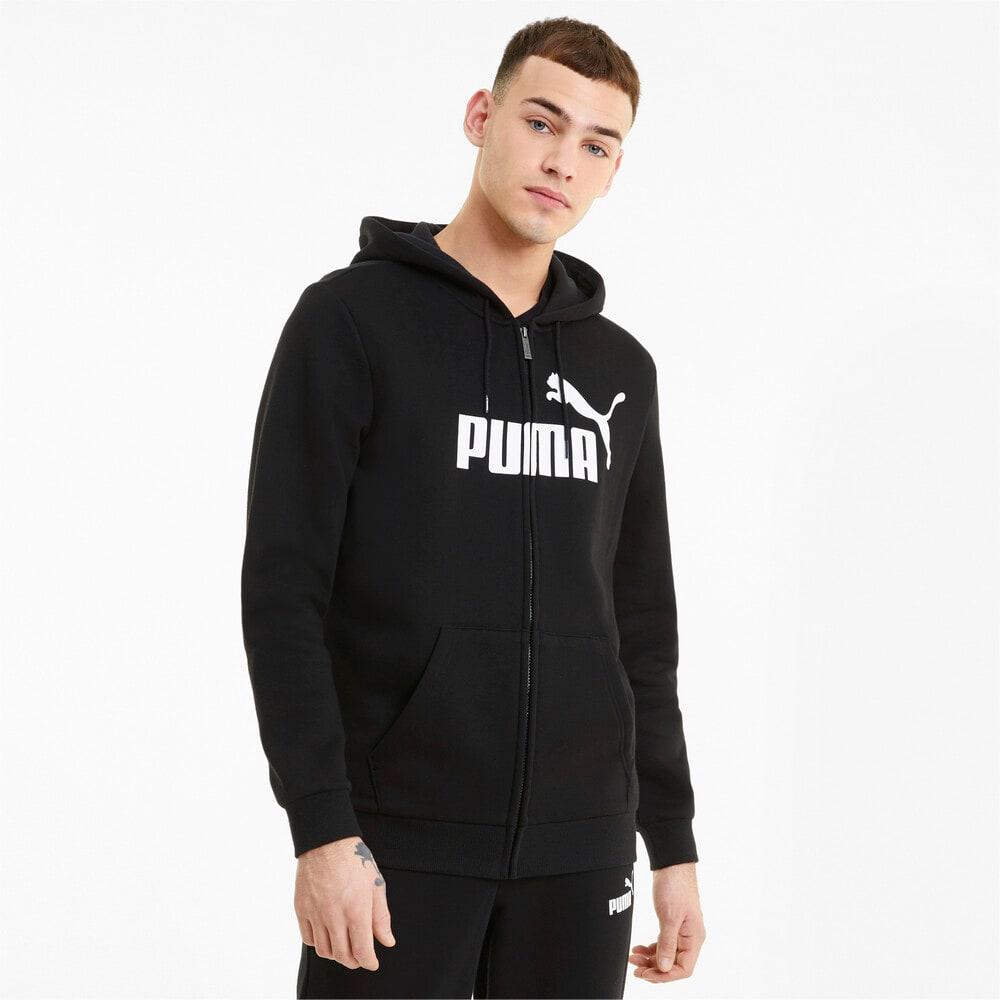 Изображение Puma Толстовка Essentials Big Logo Full-Zip Men's Hoodie #1: Puma Black