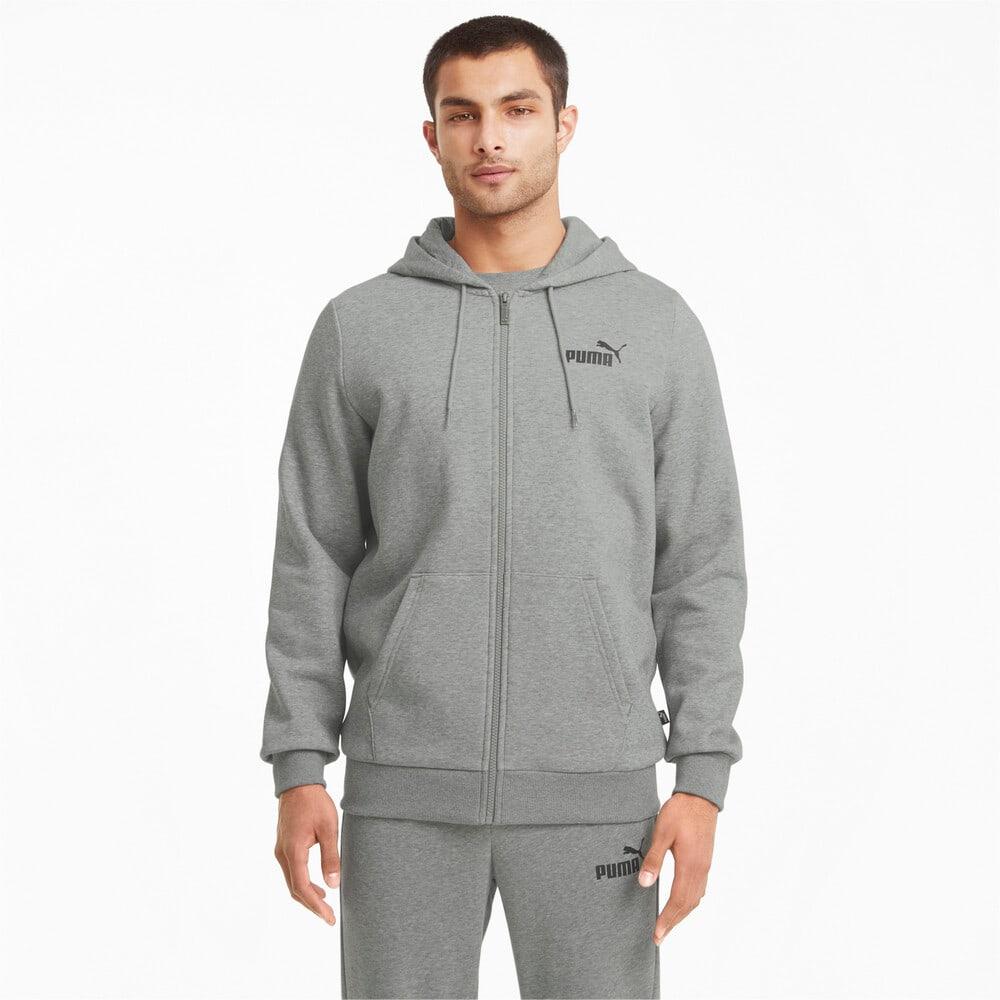 Imagen PUMA Chaqueta con logotipo, capucha y cierre completo para hombre Essentials #1