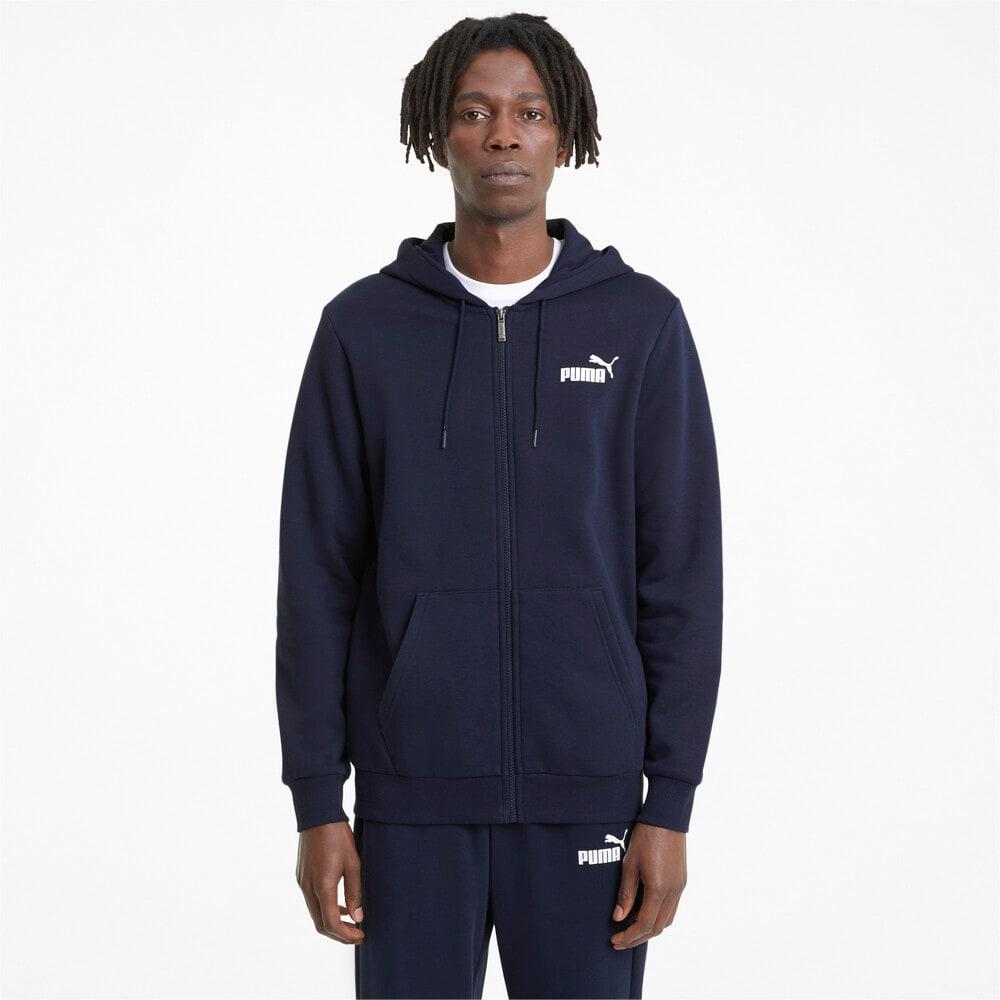 Изображение Puma Толстовка Essentials Full-Zip Logo Men's Hoodie #1: Peacoat