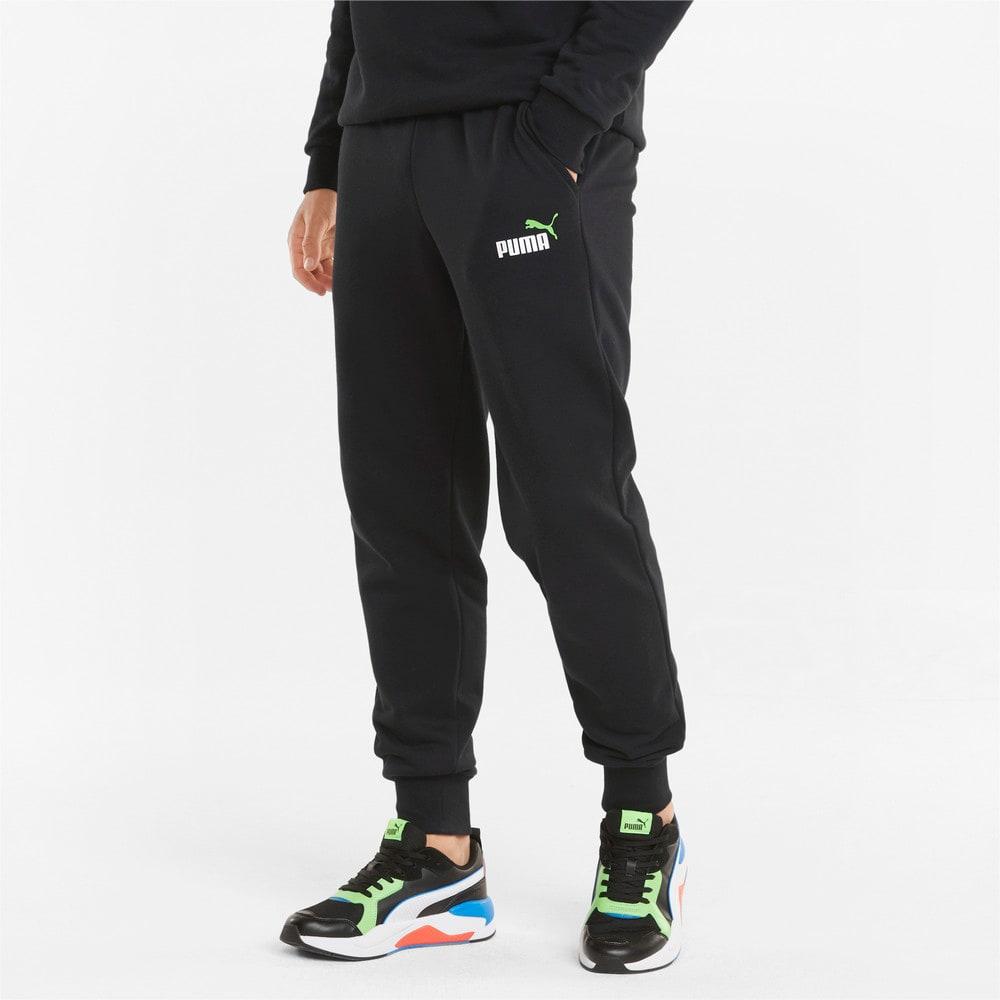 Изображение Puma Штаны Essentials+ 2 Col Logo Men's Pants #1: Puma Black-Green Flash