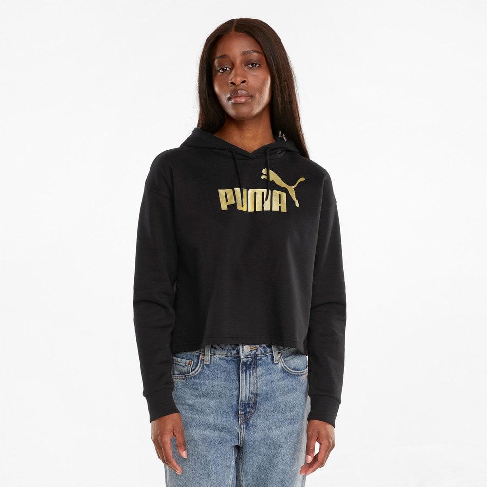 Изображение Puma Толстовка Essentials+ Cropped Metallic Women's Hoodie #1: Puma Black-GOLD