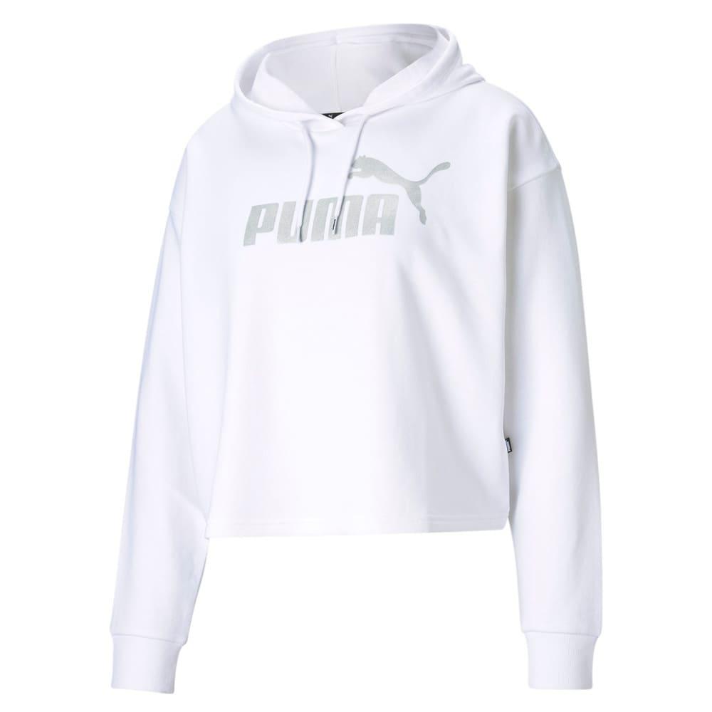 Görüntü Puma ESSENTIALS+ Kısa Kesim METALLIC Kadın Kapüşonlu Sweatshirt #1